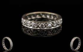 18ct White Gold Attractive Diamond Set - Full Eternity Ring. The round brilliant cut diamonds of
