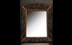 Antique Chinese Carved Hardwood Cantonese Mirror Frame Finely detailed carving depicting phoenix