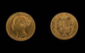 1860 Victorian Shield Back Full Sovereign