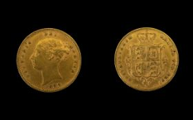 Queen Victoria Good Grade 22ct Gold Shield Back / Young Head Half Sovereign - Date 1883.