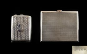 Edwardian Period - Ladies Silver Cigarette Case with Gilt Interior of Rectangular Shape.