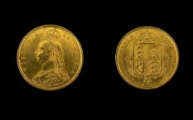 Queen Victoria Superb 22ct Gold Shield Back - Jubilee Head Half Sovereign - Date 1887.