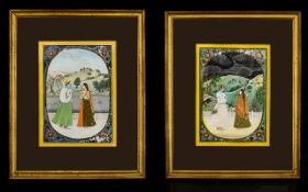 Two Mughal Watercolours On Paper Each framed and glazed,