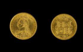 Queen Victoria - High Grade 22ct Gold Shield Back Jubilee Head - Half Sovereign - Date 1887.