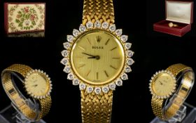 Rolex - Ladies Superb 18ct Gold Diamond Set Cocktail Watch From The 1970's Period.