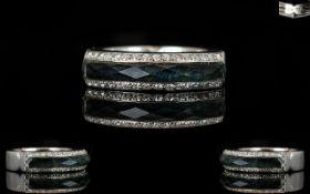 Stephen Webster Crystal Haze 18ct White Gold Diamond And Hematite Set Ring Fully hallmarked,
