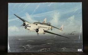 Terry Farrimond 20thC An RAF Lockheed Mark II 1943 reconnaissance over coastal waters,. Oil on