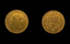 Queen Victoria Good Grade - 22ct Gold Young Head / Shield Back Half Sovereign - Date 1885.