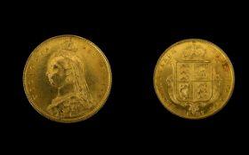 Queen Victoria Superb 22ct Gold Shield Back - Jubilee Head Half Sovereign - Date 1887. E.