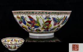 Chinese Republic Egg Shell Porcelain Bowl, Scalloped Edge, decorated To The Body With Butterflies