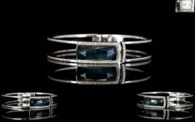 Stephen Webster Crystal Haze 18ct White Gold Diamond And Hematite Set Bangle Fully hallmarked,