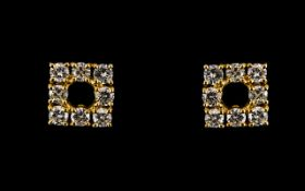 18ct Gold And Diamond Stud Earrings Each