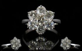 18ct White Gold 7 Stone Diamond Set Clus