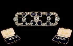 Art Deco Sapphire And Diamond Brooch Geo