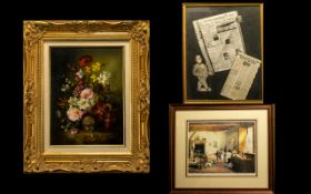 A Collection Of Framed Paintings And Lim