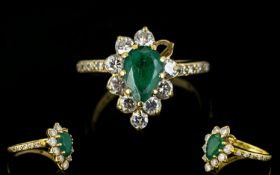 18ct Gold Emerald And Diamond Cluster Ri