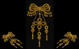 A 14ct Gold Victorian Ribbon Pendant Bro