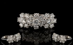 18ct Gold Diamond Cluster Ring Set with