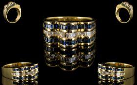 18ct Modernist Sapphire And Diamond Set