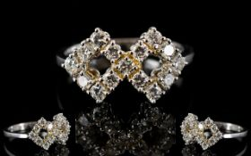 18ct White Gold And Diamond Ring Set wit