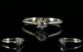 18ct White Gold Single Stone Diamond Set