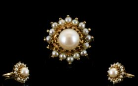 Ladies 9ct Gold Pearl Set Cluster Ring I