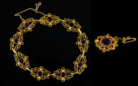 Antique 18ct Gold And Brazilian Amethyst
