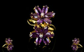 18ct Gold - Double Flower head Designed