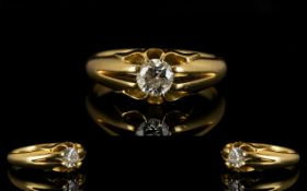 18ct Gold Single Stone Set Diamond Ring.