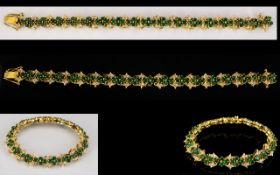18ct Gold Emerald And Diamond Bracelet C