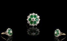 18ct Gold - Attractive Emerald and Diamo