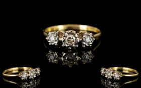 18ct Yellow Gold 3 Stone Diamond Ring, I