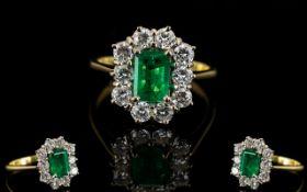 18ct Gold Superb Emerald and Diamond Set