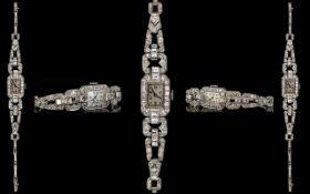 Art Deco Stunning Platinum Brilliant and