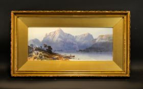 Antique Framed Landscape Print Depicting