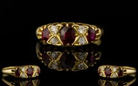 An Edwardian Period - Attractive 18ct Gold Ruby and Diamond Dress Ring of Superior Quality.