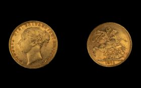 Queen Victoria 22ct Gold Young Head Full Sovereign - Date 1876.