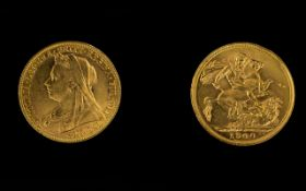Queen Victoria - Superb 22ct Gold Old Head Full Sovereign - Date 1900. Sydney Mint & High Grade E.F.