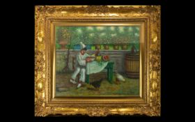 Original Oil On Canvas Signed 'E Roger' Housed in ornate gilt frame.