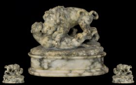 French Antique Period - Fine and Impressive Marble Sculpture, Depicting a Male Lion and Lioness,