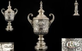 Edwardian Superb Quality Silver Twin Handle Lidded Trophy Vase The whole with extensive embossed