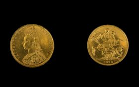 Queen Victoria Superb 22ct Gold - Jubilee Head Full Sovereign - Date 1890.