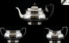 George VI Nice Quality Sterling Silver 3 Piece Tea Service of Solid Construction.