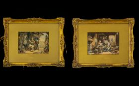 A Pair Of Antique Framed Prints Each Framed And Glazed In Gilt Gesso Frames With Inner Gilt Mount.