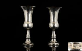 Judaica Pair of Sterling Silver Kiddush Cups From The Early 20th Century.