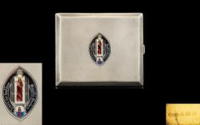 Art Deco Period - Excellent Quality Bright Cut Silver and Enamel Cigarette Case of Rectangular