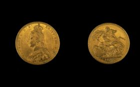 Queen Victoria Superb 22ct Gold Jubilee Head Full Sovereign - Date 1891. Sydney Mint & High Grade E.