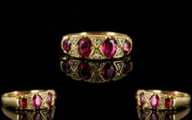 Antique Period Attractive 18ct Gold Ruby And Diamond Dress Ring The natural rubies of excellent