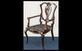 Late 19th/Early 20th Century Bedroom Chair Open form chair raised on cabriole legs with brass