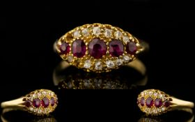 Victorian Period - Attractive 18ct Gold Ruby and Diamond Ring. c.1850's.